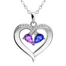 Diamond Hollow Heart Necklace Alloy Rose Gold Chain Pendant  NHBOJ366500