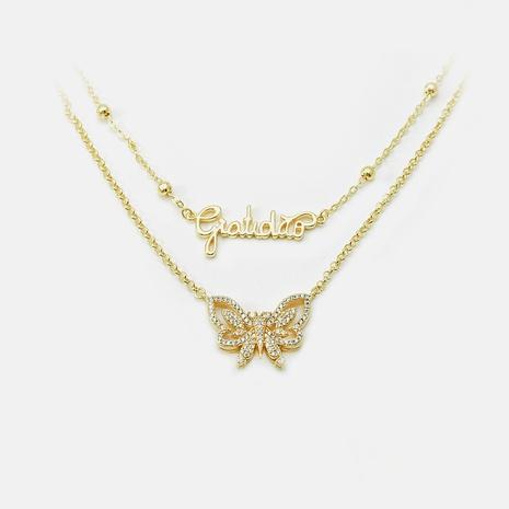 Collar doble de clavícula con letra de mariposa de circón chapado en oro de moda NHWV365289's discount tags