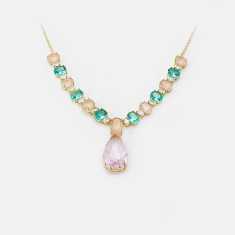 collar retro con colgante en forma de gota de circonitas chapadas en oro con incrustaciones de diamantes NHWV365292's discount tags