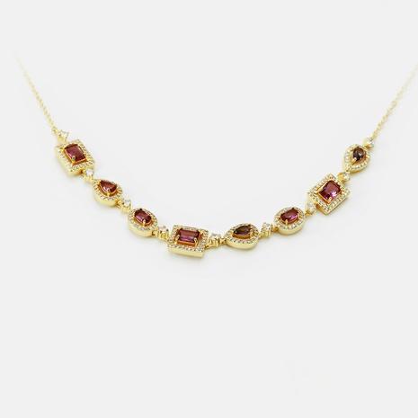 Al por mayor collar de circón geométrico de color dorado de moda NHWV365298's discount tags