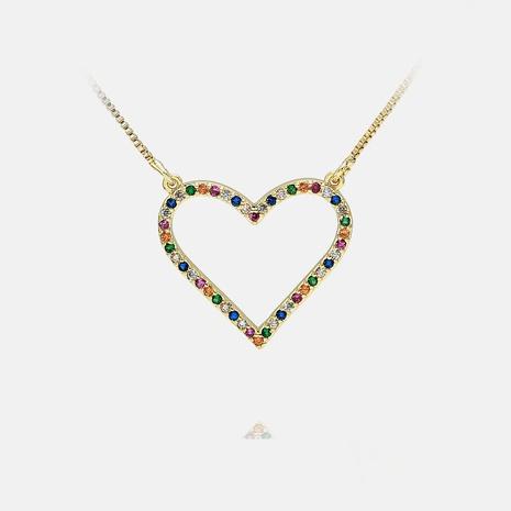 collar colgante en forma de corazón de circón con incrustaciones de color de moda NHWV365295's discount tags