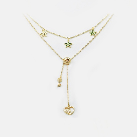 collar de doble capa colgante de estrella en forma de corazón chapado en oro de moda NHWV365296's discount tags