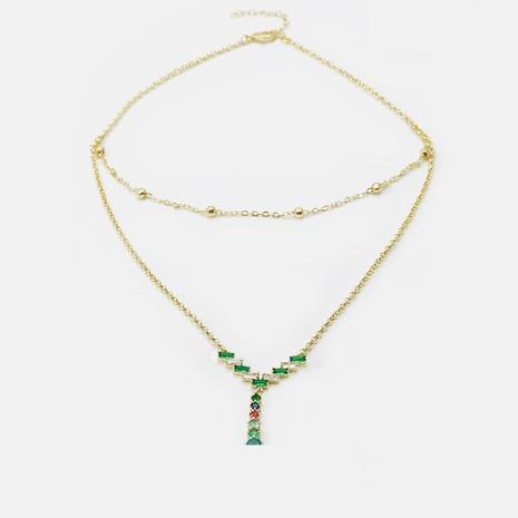 moda nuevo collar de doble capa cuadrado de doble capa de circón chapado en oro NHWV365300's discount tags