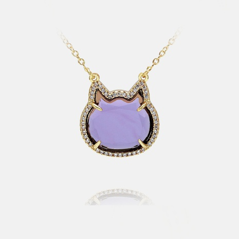 Collar colgante de gato de cristal coloreado de nueva moda NHWV365288's discount tags