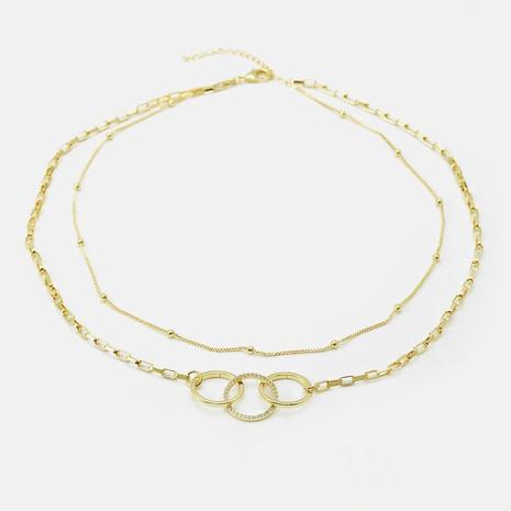 collar de cadena de circonita doble simple al por mayor NHWV365302's discount tags