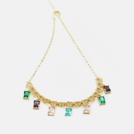 Collar colgante de circonitas con vitrales chapados en oro de moda NHWV365309's discount tags
