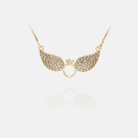 fashion wings pendent copper inlaid zircon necklace NHWV365319's discount tags