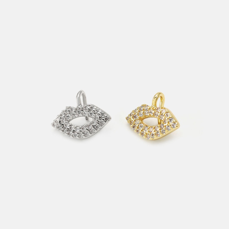 fashion goldplated lips zircon necklace pendant NHWV365327