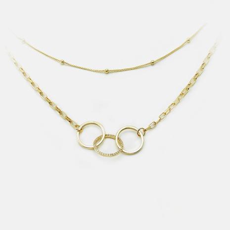 Collar de múltiples capas chapado en oro de círculo de moda al por mayor NHWV365333's discount tags