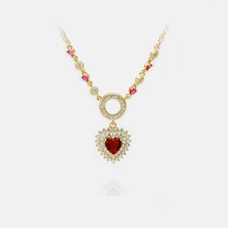 Al por mayor collar de corazón rojo de circón chapado en oro de moda NHWV365334's discount tags