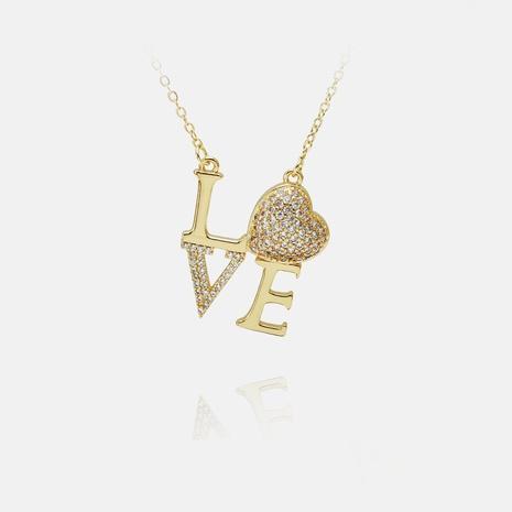 Collar colgante AMOR con letra de circonita chapada en oro de cobre de moda NHWV365353's discount tags