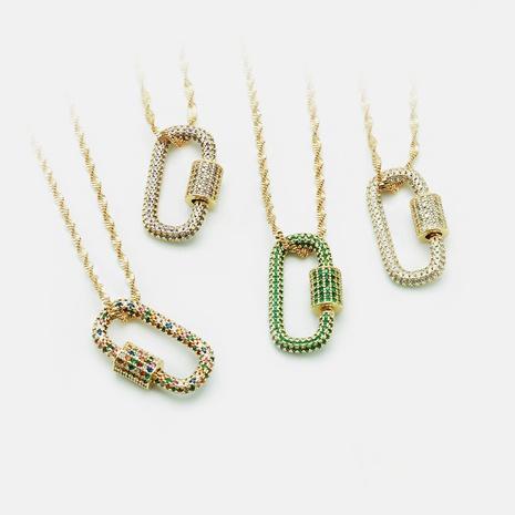 Collar colgante de circonita de color con incrustaciones de cobre y cerradura de oro de moda NHWV365357's discount tags