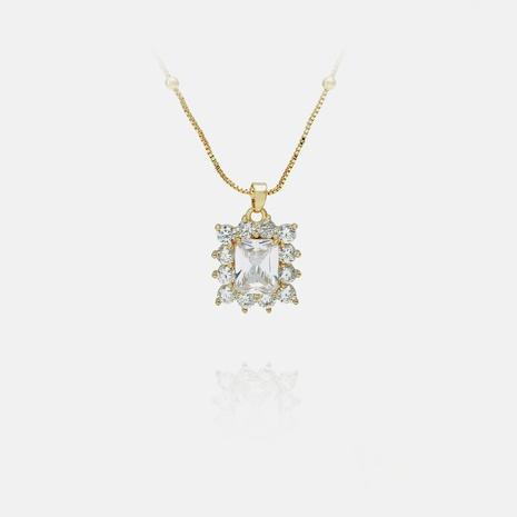 collar de circón geométrico chapado en oro de moda al por mayor NHWV365361's discount tags