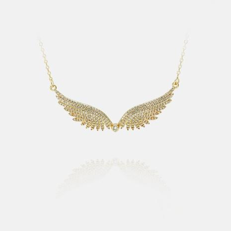 collar de plumas de circonitas chapadas en oro de cobre de moda NHWV365364's discount tags
