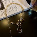 fashion hip hop letter H pendant necklace  NHJIF366048