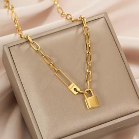 retro hip-hop lock pendant necklace  NHJIF366057