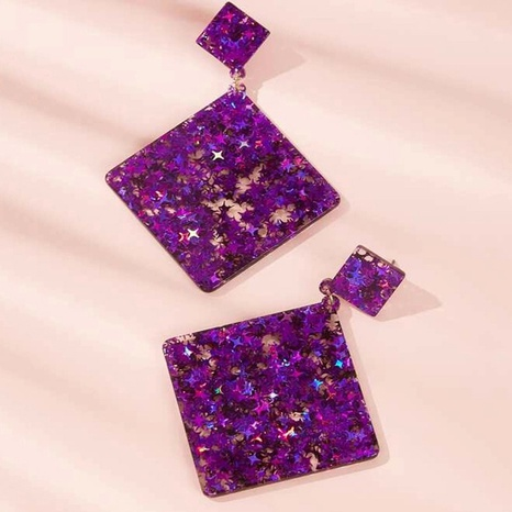 fashion geometric star sequins square acrylic earrings NHAYN366067's discount tags