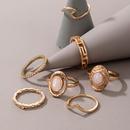 simple golden inlaid gemstone irregular twist ring 7piece set NHGY366479