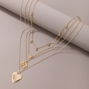 simple peach heart pendant multilayer alloy necklace NHGY366478