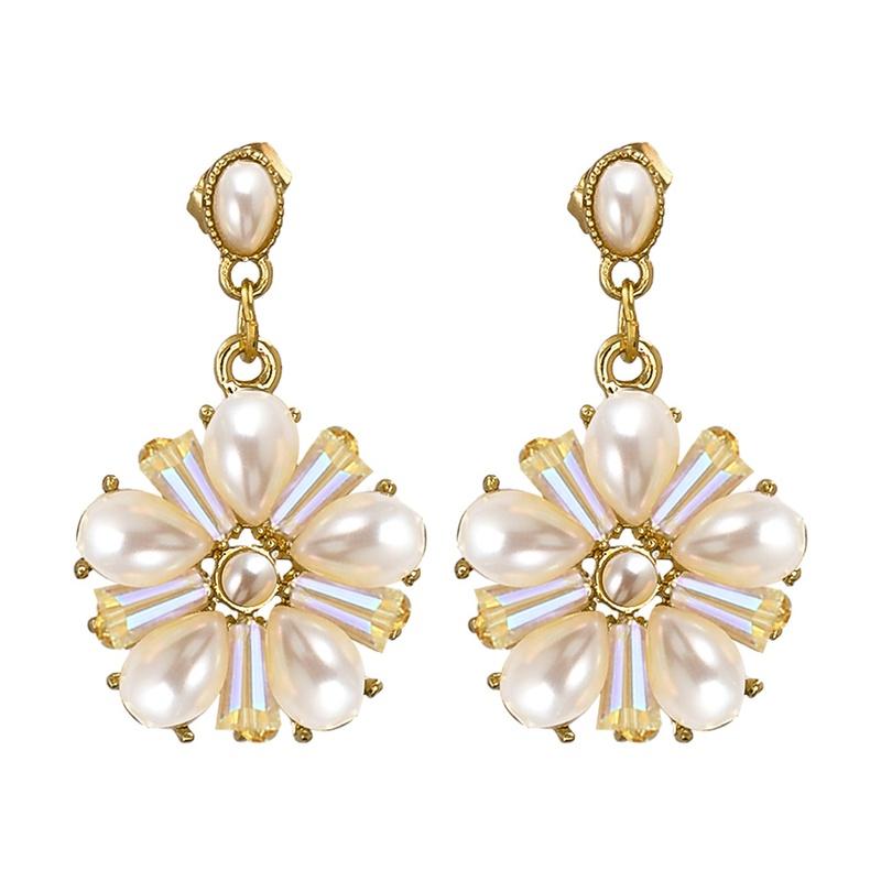 Retro crystal bead pearl flower earrings  NHJJ366193