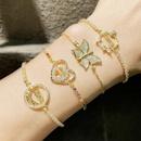 Zircon butterfly bracelet heartshaped mom pull adjustable bracelet NHAS366217