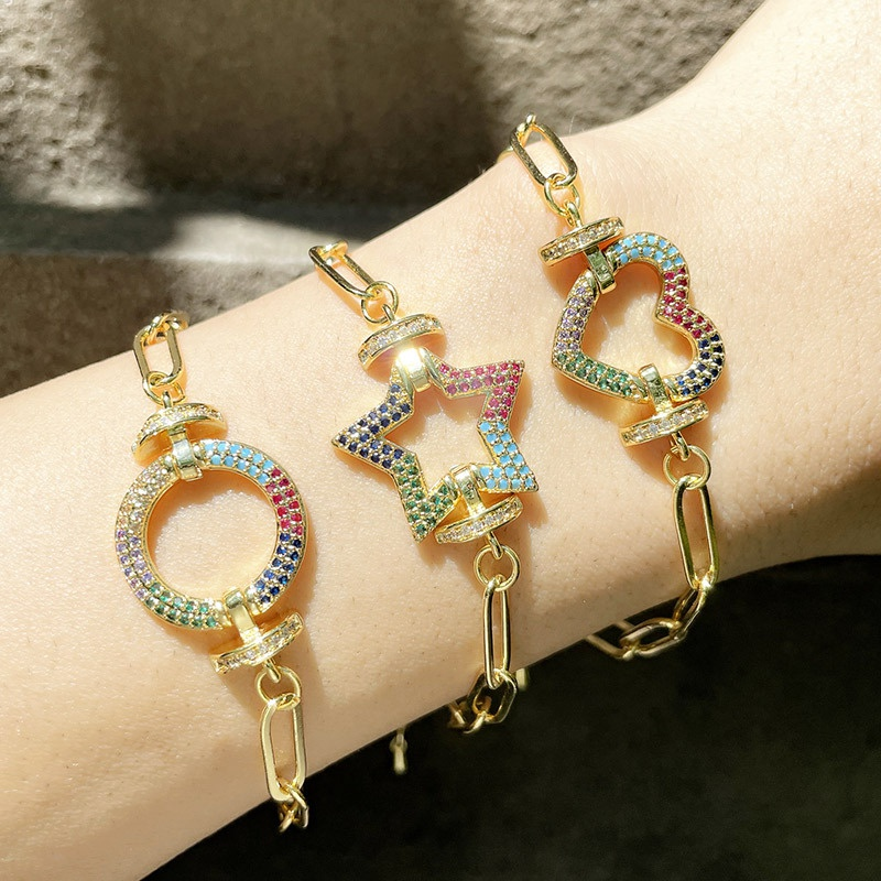 Hiphop jewelry fashion microinlaid color zircon round star heart bracelet NHAS366220