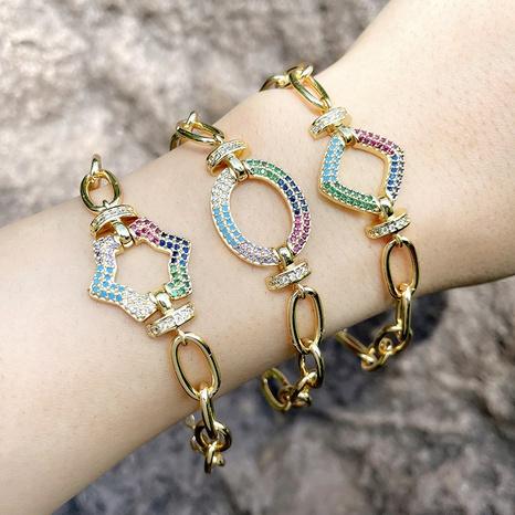 Pulsera de diamantes de color simple para mujer pulsera de novias de hip-hop de cadena gruesa NHAS366232's discount tags