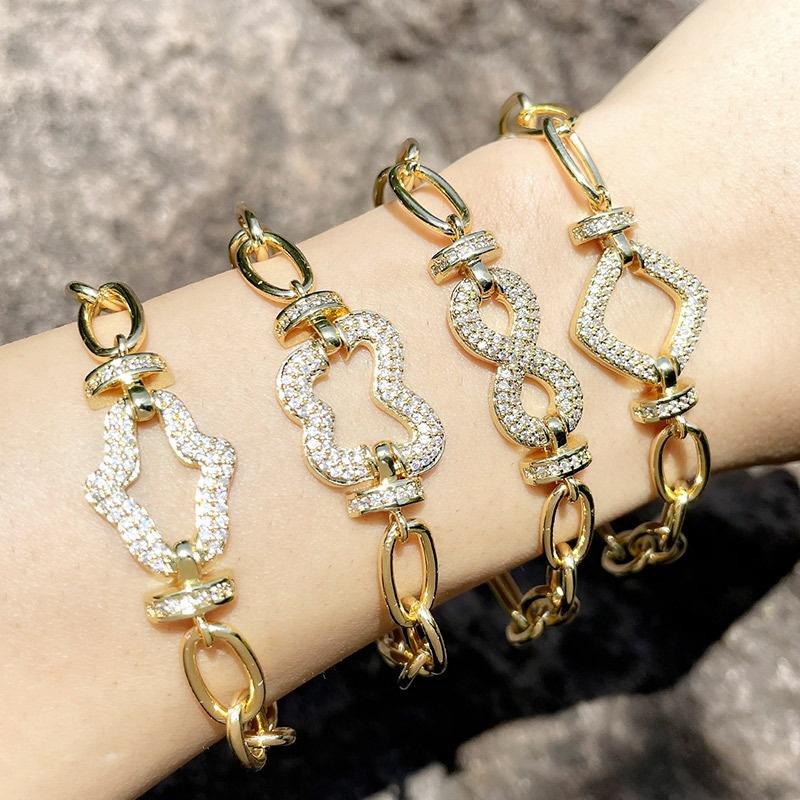 Punk hip hop metal lovers bracelet zircon copper handwear NHAS366236