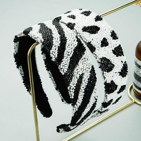 Tubo de vidrio diadema de rayas de leopardo patrón de cebra diadema ancha de lados NHLN366240's discount tags