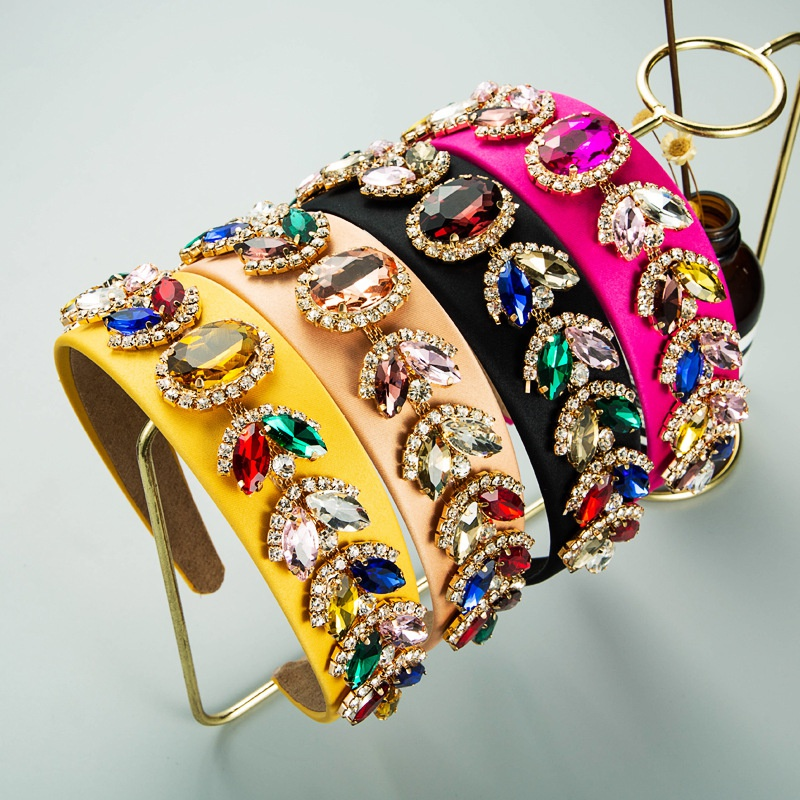 Pure color cloth inlaid rhinestone glass drill headband Baroque hair ornament NHLN366241