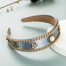 Heavy industry diamond headband chain wide hairband NHLN366242