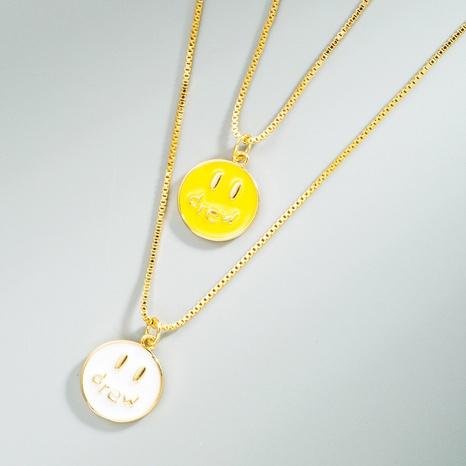 Koreanische Mode einfache Smiley-Anhänger Kupfer vergoldete Halskette NHLN366247's discount tags