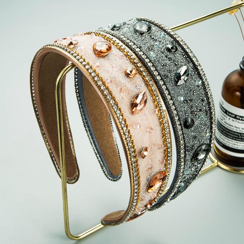 Diamond broadbrimmed headband baroque chain headband NHLN366249