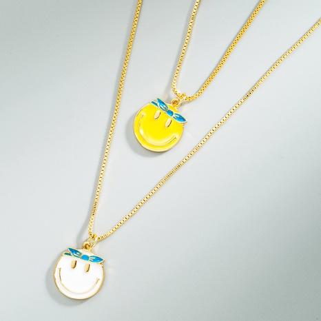 Mode einfache Zeichentrickfigur Smiley Kupfer vergoldete Halskette NHLN366260's discount tags