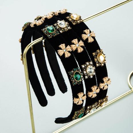 Diadema de terciopelo con incrustaciones de piedras preciosas retro cruz accesorios para el cabello diadema barroca de lados finos NHLN366264's discount tags