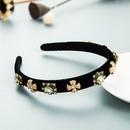 Retro cross gemstone inlaid velvet headband hair accessories finesided baroque headband NHLN366264