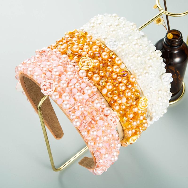 Baroque handsewn pearl crystal widebrimmed fabric headband women NHLN366265