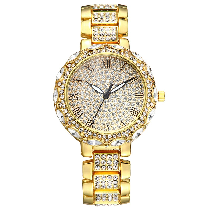Fashion Gypsophila Diamond Roman Scale Steel Band Quartz Watch NHSR366295