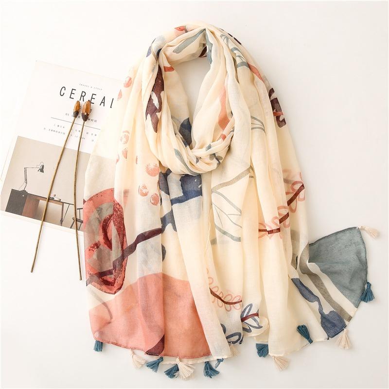 retro plain beige bottom small flower tassels thin gauze scarf  NHGD366334