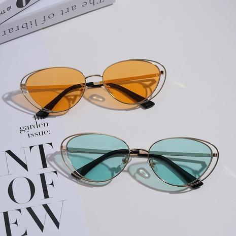 Gafas de sol retro estilo punk con montura doble ojo de gato multicolor NHXU366339's discount tags