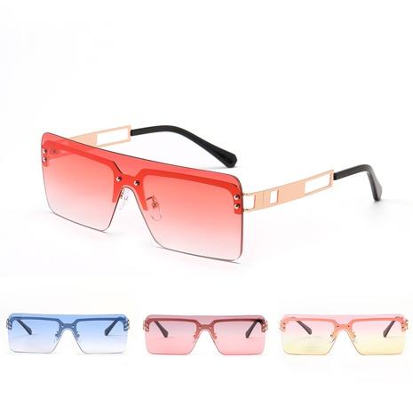 Gafas de sol grandes cuadradas de metal sin marco de una pieza de moda NHXU366340's discount tags