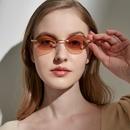 Retro Frameless Oval Small Sunglasses  NHXU366342