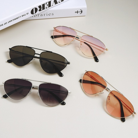 Gafas de sol de doble haz de metal de moda NHXU366345's discount tags