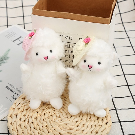 cute straw hat plush lamb doll keychain  NHAE366390's discount tags