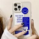 fashion blue smiley label mobile phone case NHFI366537
