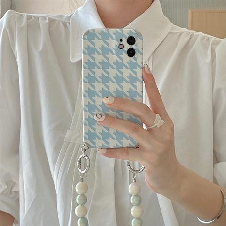 einfache blaue Handyhülle mit Hahnentritt-Perlenkette NHFI366597's discount tags