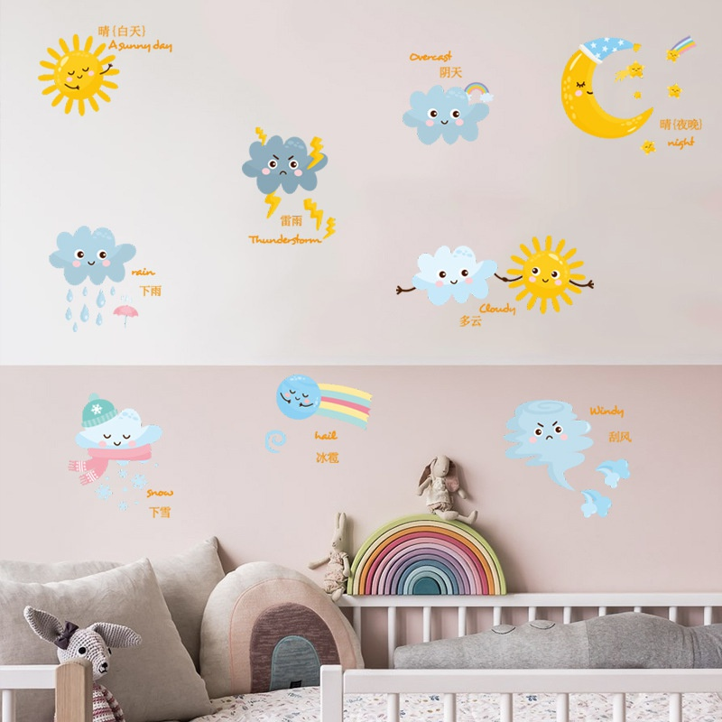 Cartoon weather sun clouds moon dark clouds decorative wall stickers NHAF366692