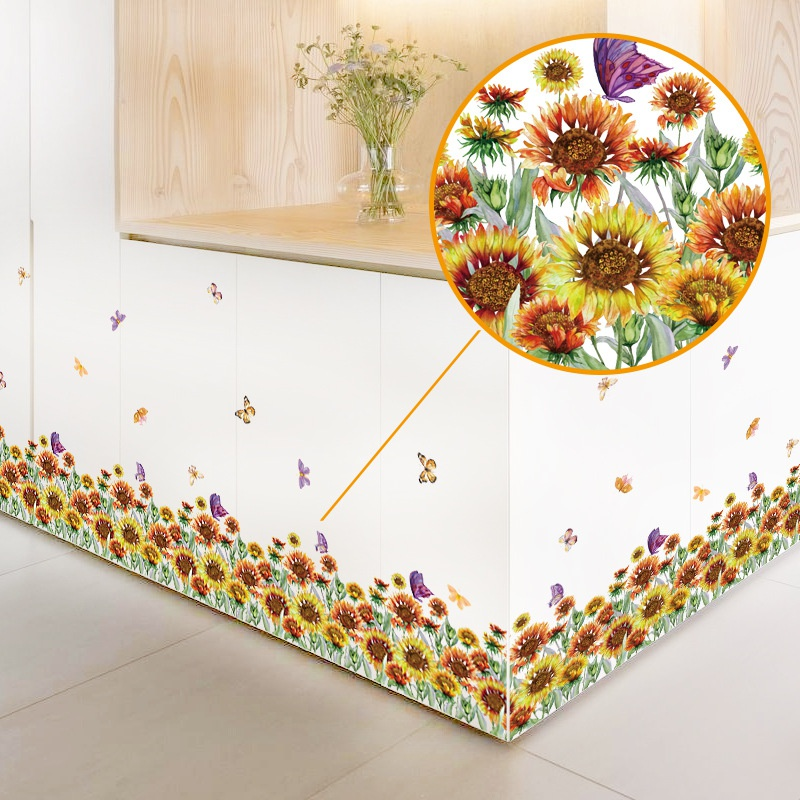 simple yellow painted flowers skirting wall decoration stickers NHAF366694