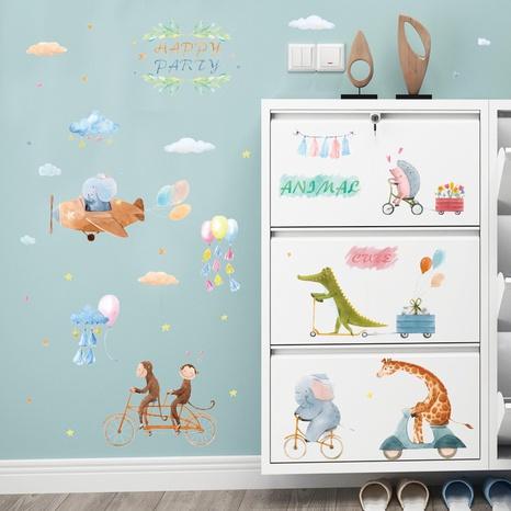 autocollants muraux décoratifs de jeux de vélo d'animaux de dessin animé NHAF366704's discount tags