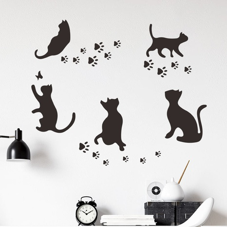 nouveau chat jouant des empreintes de pas stickers muraux décoratifs NHAF366707's discount tags